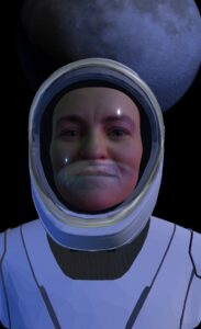claire in spacesuit filter